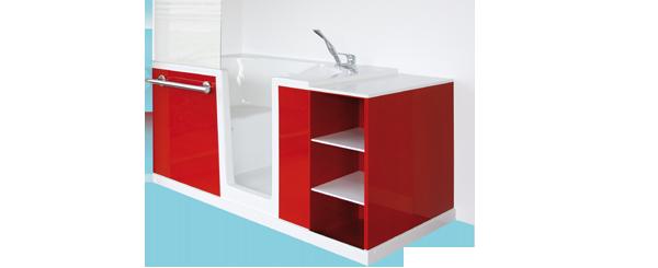 une petite salle de bain avec une baignoire avec porte habitation travaux. Black Bedroom Furniture Sets. Home Design Ideas